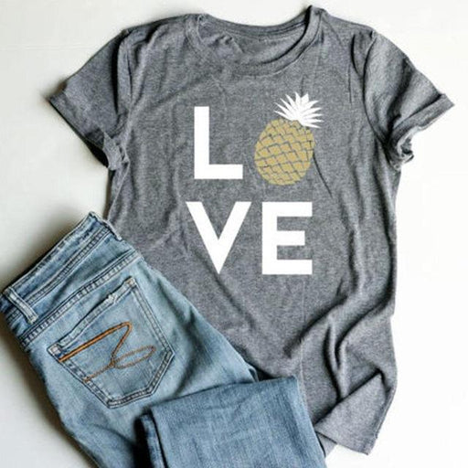 Plus Size Summer Women T-Shirt Tops Love Pineapple Print Gray Top O-Neck Short Sleeve Casual T shirt - SolaceConnect.com