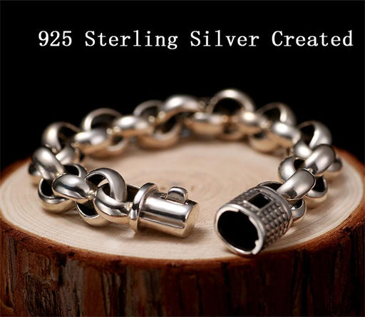 SOLACE Vintage Real Pure 925 Sterling Silver Rolo Chain Thick Bracelet For Mens Thai Silver - SolaceConnect.com