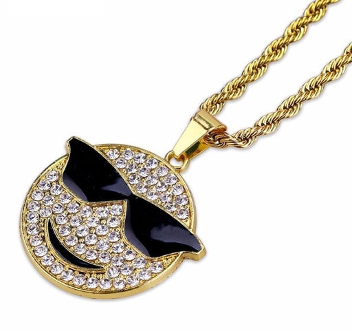 JINAO Gold Color Plated Iced Out Micro Crystal Cool Emoji Pendant Necklace Hip Hop Jewelry - SolaceConnect.com