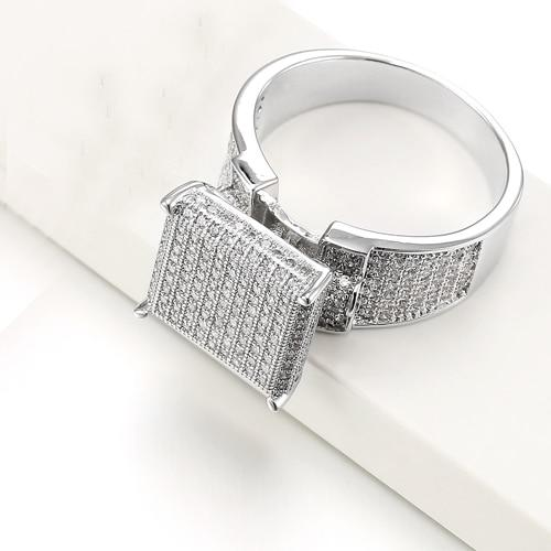 Iced Out Hip Hop Square Micro Paved Cubic Zirconia Crystal Rings For Men - SolaceConnect.com