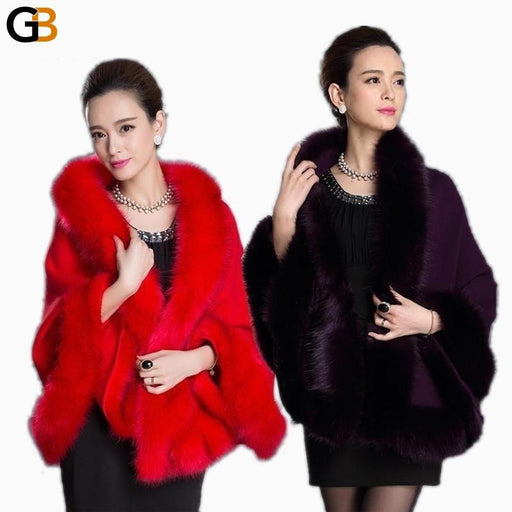 Fashion Winter Womens Leather Grass Fox Fur Collar Poncho Cape Bridal Wedding Dress Shawl Cape