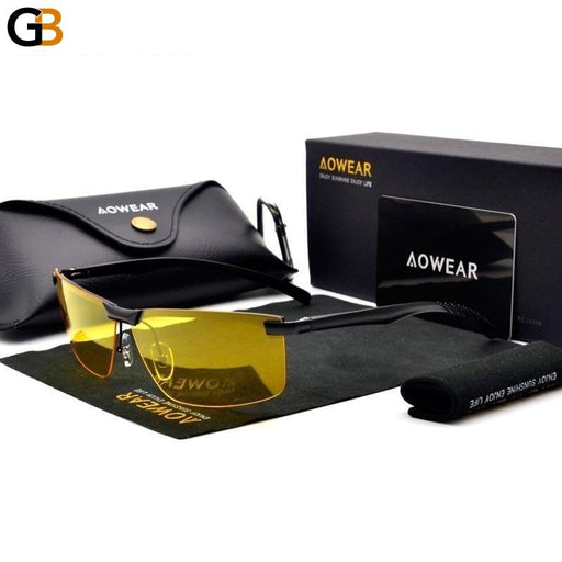 AOWEAR HD Night Vision Glasses Men Oculos Driver Goggles Yellow Driving Glasses Man Polarized - SolaceConnect.com