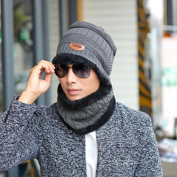 Men's hat in autumn and winter with warm cashmere set head cap hat riding ear muff knitted hat - SolaceConnect.com
