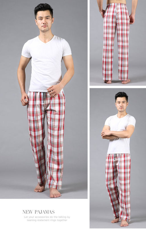 Plus size Summer 100% cotton mens sleep bottoms pajama simple sleepwear pants pijamas for male sheer - SolaceConnect.com