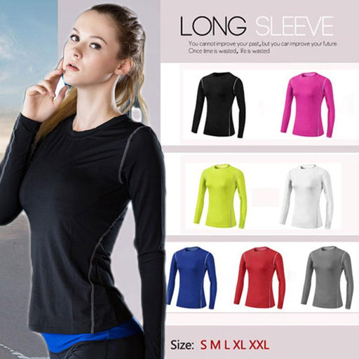 Base Layer Long Sleeves Quick Dry Fitness Sports T-Shirt for Women - SolaceConnect.com