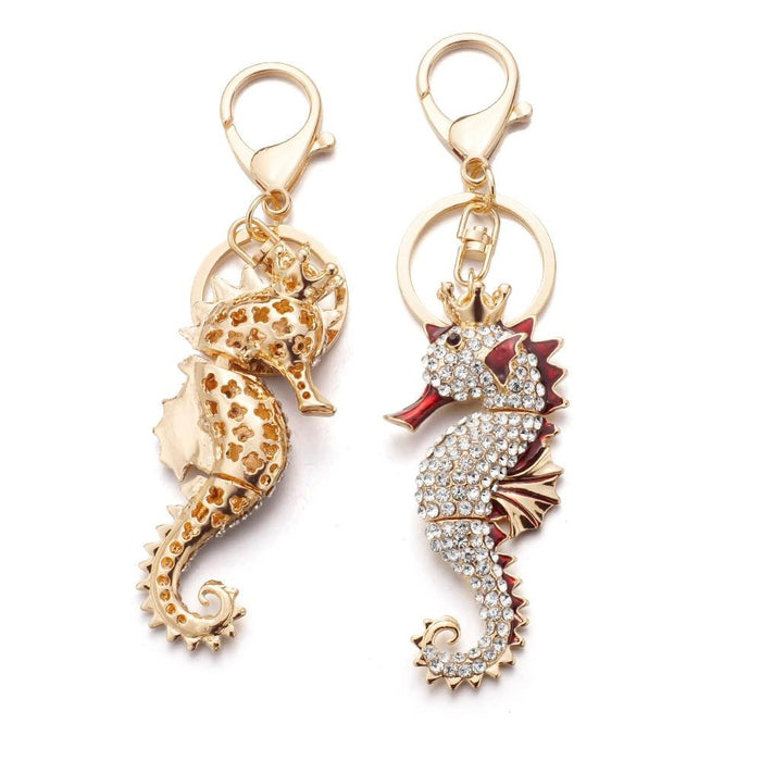Dalaful Hippocampus Keyrings Keychains Seahorse Enamel Crystal Cute Pendant For Car Key Chains Rings - SolaceConnect.com