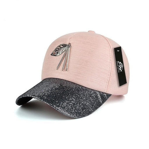 JOYMAY arrival high quality fashion women snapback cap metal leaf bling visor baseball cap - SolaceConnect.com