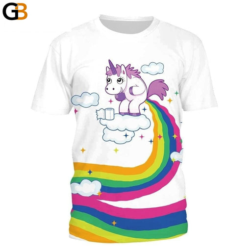 Summer Hip-hop T-Shirt for Women with Unicorn Cloud Rainbow 3D Printing - SolaceConnect.com