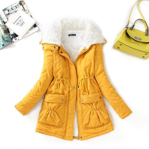 Fitaylor Winter Cotton Coat Women Slim Snow Outwear Medium-long Wadded Jacket Thick Hooded Cotton - SolaceConnect.com