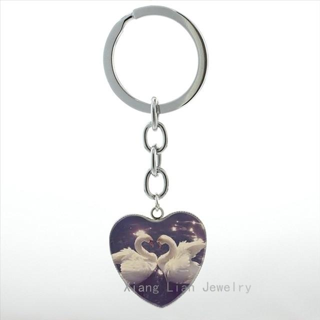Romantic Swan Birds Kissing Photo Heart Pendant Key Chain for Couple - SolaceConnect.com
