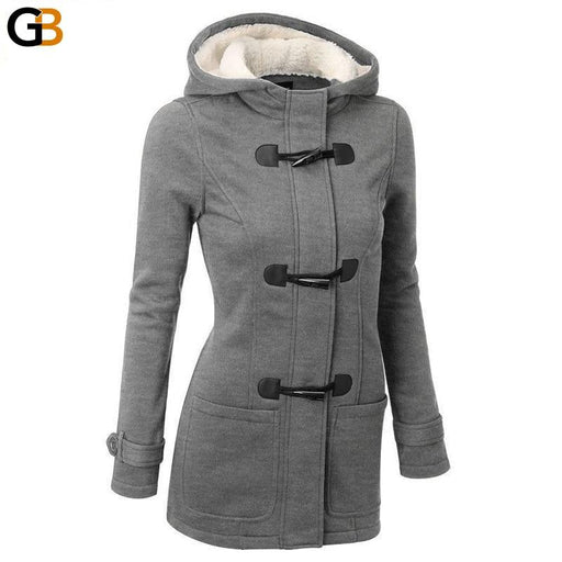 Women Causal Coat Spring Autumn Women's Overcoat Female Hooded Coat Zipper Horn Button - SolaceConnect.com