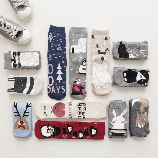 Lovely Warm Cotton Cartoon Animal Printed Christmas Gift Socks for Adults - SolaceConnect.com