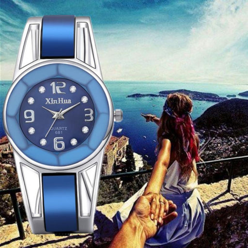 Women's Stainless Steel Casual Wrist Watches with Luxury Rhinestone - SolaceConnect.com