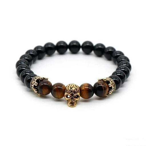 Men and Women Silver Plated Vintage Skull Bracelet with Lava Rock Stone - SolaceConnect.com