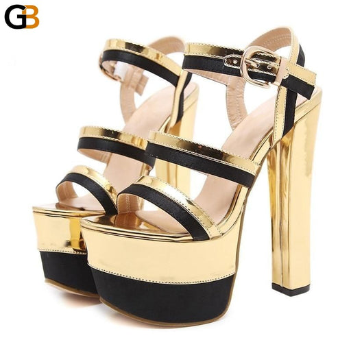Sexy Summer Women's High Heels Mixed Colors Gold Party Platform Shoes - SolaceConnect.com