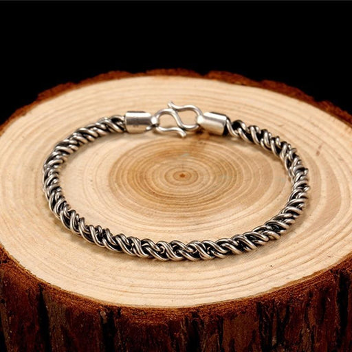 SOLACE Real 925 Sterling Silver Bracelet Man 5mm Thickness 18 Length Punk Rock Vintage Weave - SolaceConnect.com