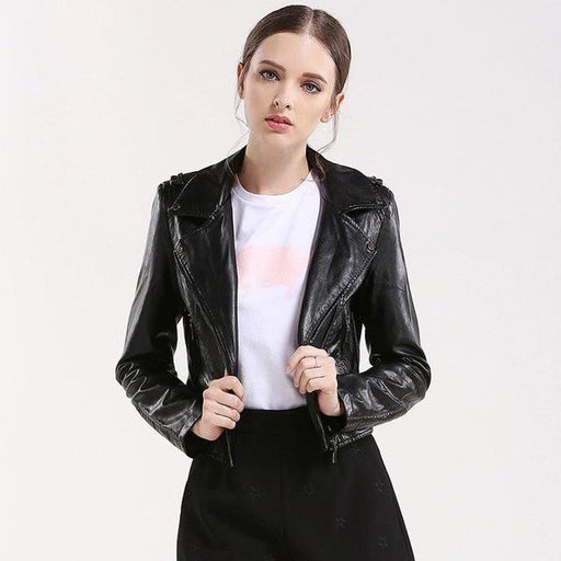 Women's Soft Autumn Synthetic Leather Jacket Short Slim Pink Motorcycle Outwear - SolaceConnect.com