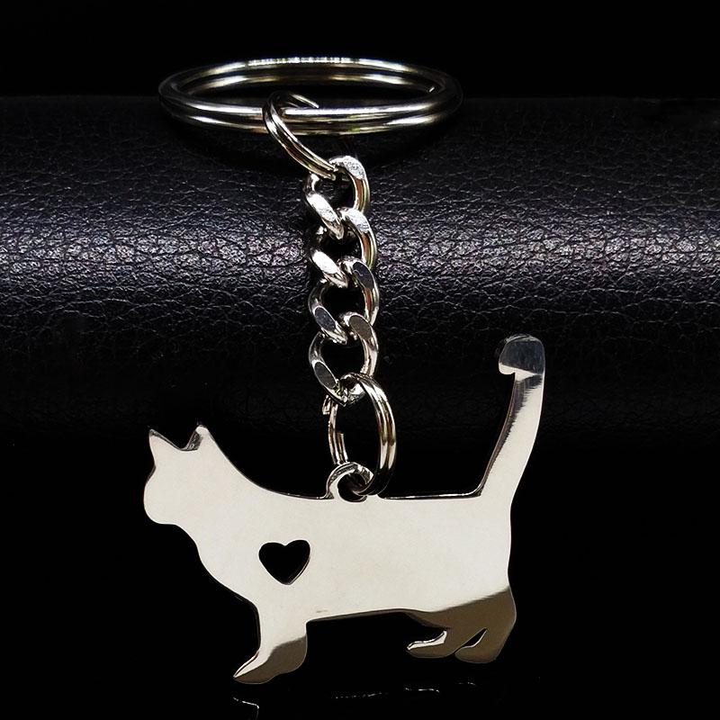 Fashion Cute Pokemon Cat Keychain Silver Color Stainless Steel Keychain for Women Jewelry porte - SolaceConnect.com