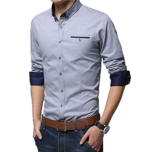 Spring Fashion Pure Cotton Long Sleeve Slim Fit Casual Shirt for Modern Men - SolaceConnect.com