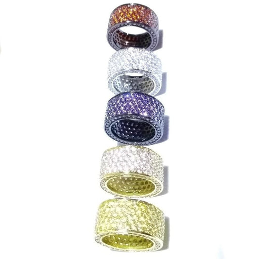 Women's Round Cubic Zirconia Rings Yellow Red White Purple Colors - SolaceConnect.com
