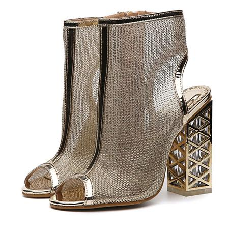 Sexy Golden Bling Gladiator Sandals Peep Toe Zip Shoes Clear Chunky Transparent heels Pumps - SolaceConnect.com