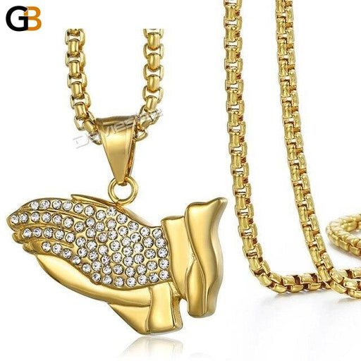Men's Stainless Steel Gold Prayer Hand Pendant Hip Hop Box Link Chain - SolaceConnect.com
