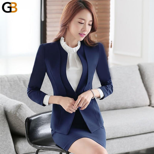Women's Blue Skirt Two-Piece Suit with Blazer for Office Wear - SolaceConnect.com