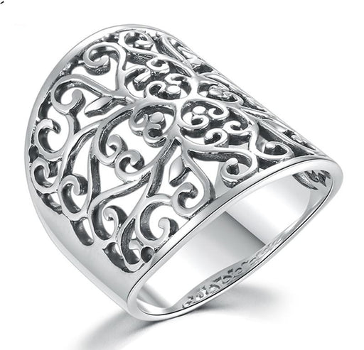 6 13 Real Solid 925 Sterling Silver Women Ring Flower Hollow Designed Fashion Gift for Women Girl - SolaceConnect.com