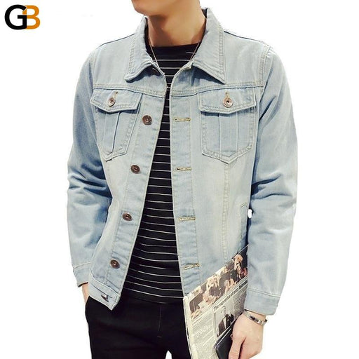 Solid Casual Slim Mens Denim Jacket Plus Size S-4XL 5XL Bomber Jacket Men High Quality Cowboy - SolaceConnect.com
