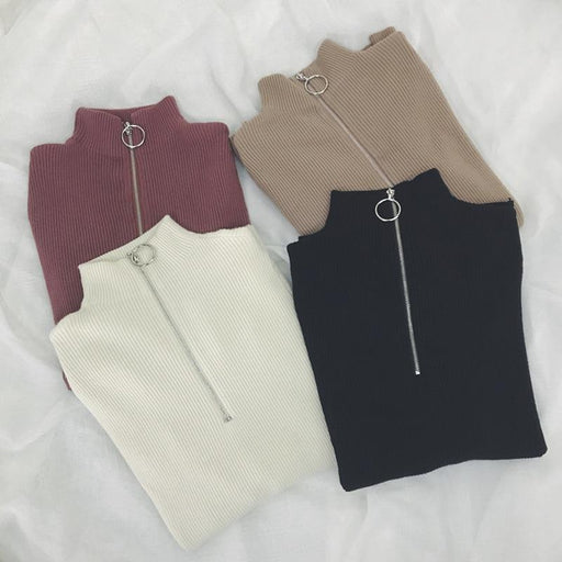 Zipper Turtleneck Solid Women Sweater Skinny Elastic Knitted Full Sleeve Pullover Feminino Soft - SolaceConnect.com