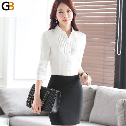 Office Lady Pleated White Blouse Shirt Tops with Tie and Bow - SolaceConnect.com