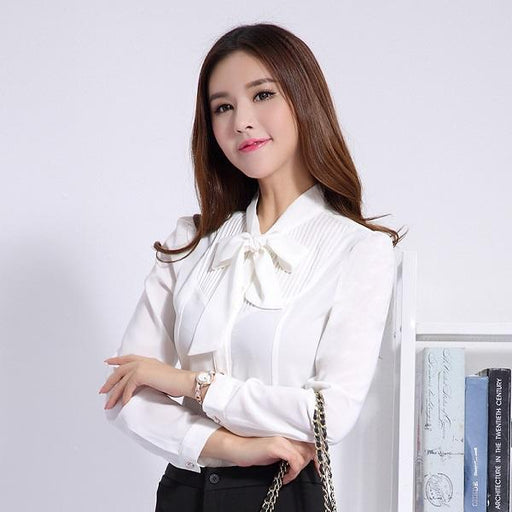 Office Ladies Autumn Women's White Long-Sleeve Slim Bow Tie Shirt Blouse - SolaceConnect.com