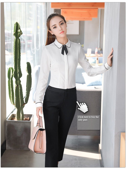 Office Lady Long Sleeve Cover Button Bow Tie White Blouse Shirt Workwear - SolaceConnect.com