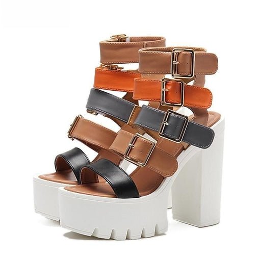 Women's High Heels Summer Fashion Buckle Gladiator Platform Sandals - SolaceConnect.com