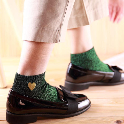 Embroidery Heart Love Glitter Socks Women Fashionable Silver Gold Silk Colorful Shining Sox Shiny - SolaceConnect.com
