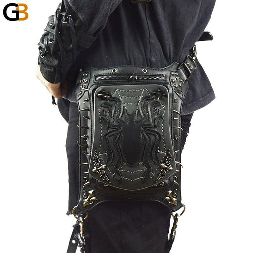 Men's Steampunk Gothic Style Spider Leather Crossbody Waist Packs - SolaceConnect.com