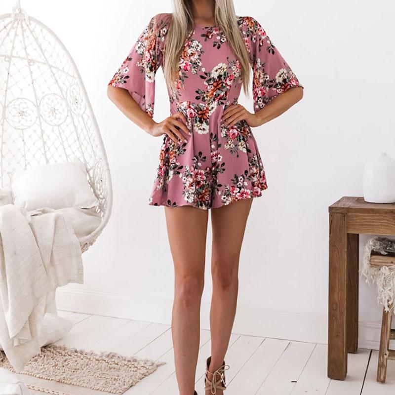 1e6611c96e ... Elegant Sweet Floral Print Women Playsuits Sexy Jumpsuit Shorts Summer  Half Sleeve Party Beach - SolaceConnect ...
