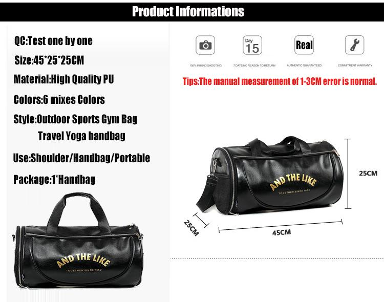 32233ce29408 ... Top PU Outdoor Sports Gym Bag Men Women with Shoes Storage Training  Fitness Multifunction Shoulder ...