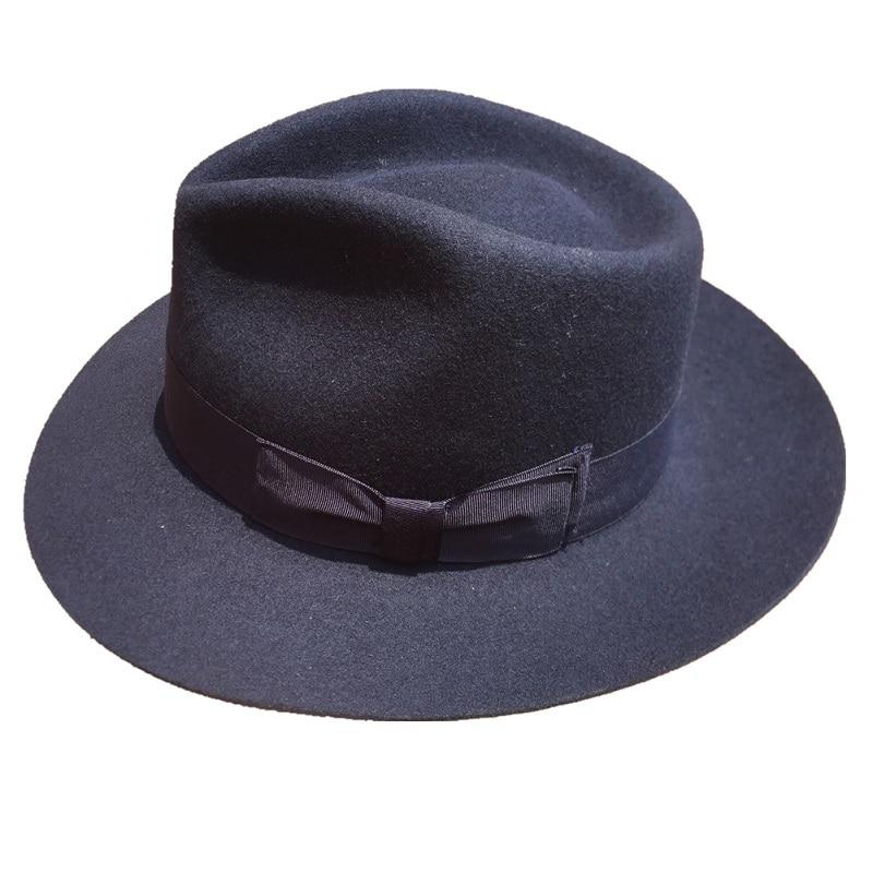 ea0edb2092d9a ... Classic Deep Blue Wool Men s Fur Felt Fedora Hat Gangsters Hipsters -  SolaceConnect.com