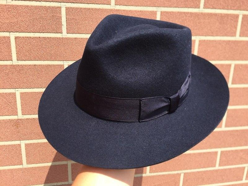 6da13ff0b6f55 ... Classic Deep Blue Wool Men s Fur Felt Fedora Hat Gangsters Hipsters -  SolaceConnect.com ...