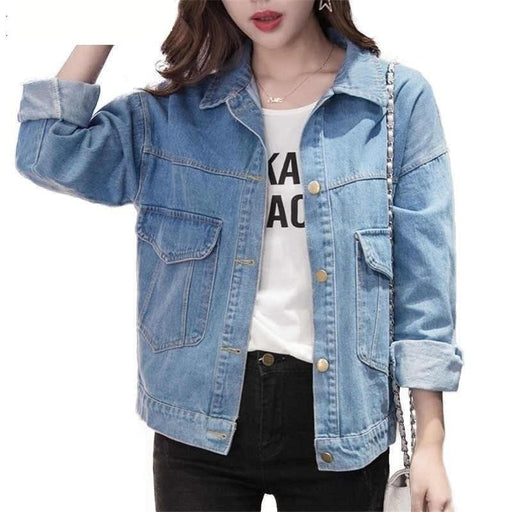 Women Basic Coats Women Denim Jacket Vintage Long Sleeve Loose Female Jeans Coat Casual Girls