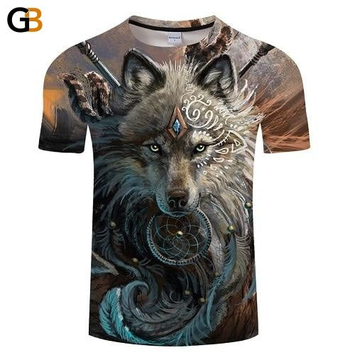 Wolf Warrior by SunimaArt 3D T shirts Men T-shirts Design Tops Tees Short Sleeve Tshirt Camiseta - SolaceConnect.com
