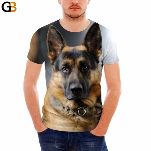 FORUDESIGNS Cool German Shepherd 3D Printing Men Summer T Shirt Breathable Short Sleeve Tops - SolaceConnect.com