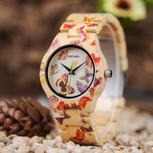 BOBO BIRD Ladies Wood Watch Women montre femme Bamboo Band Painting Butterfly Quartz Watches in - SolaceConnect.com