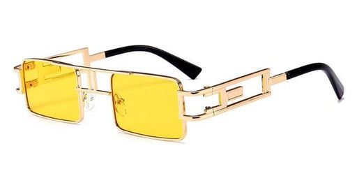 Unisex Gold Black Red Rectangular Steampunk Metal Frame Flat Top Sunglasses - SolaceConnect.com