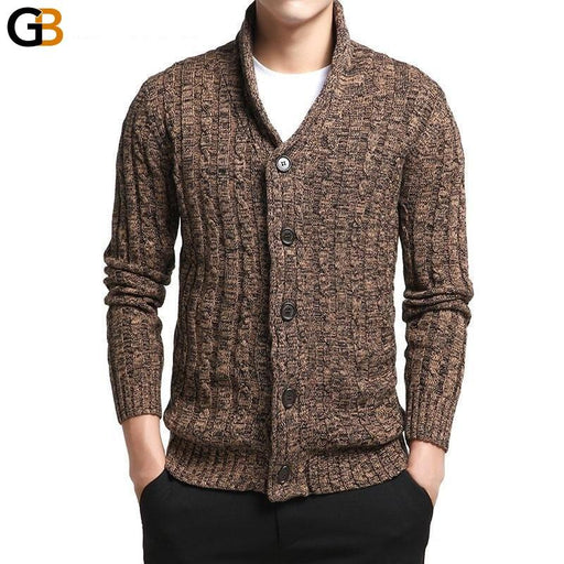Men's V-Neck Solid Slim Fit Knitting Cardigan Brand Sweaters - SolaceConnect.com