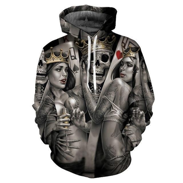 EU Size Skull Hoodies Men Fashion Autumn Winter Pullover Hoody Tops Casual Hip Hop 3D - SolaceConnect.com