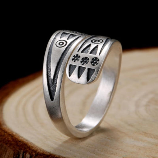 925 Sterling Silver Frosting Resizable Vintage Punk Rock Ring for Men - SolaceConnect.com