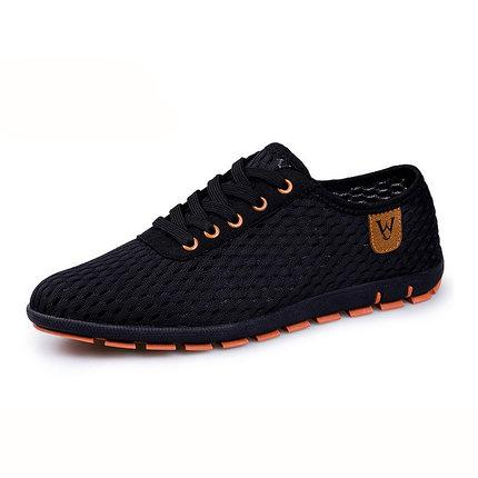 Summer Men's Breathable Mesh Lace-Up Canvas Flats Zapatillas Shoes - SolaceConnect.com