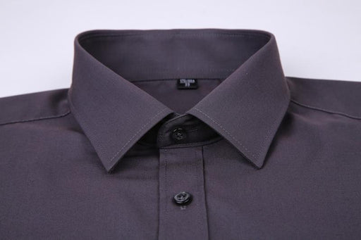 Plus Size Men's Solid Black White Blue Gray Color Business Shirt - SolaceConnect.com